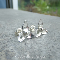 Three Petal Flowers - Sterling Silver Stud Earrings - Metalwork Flower Studs