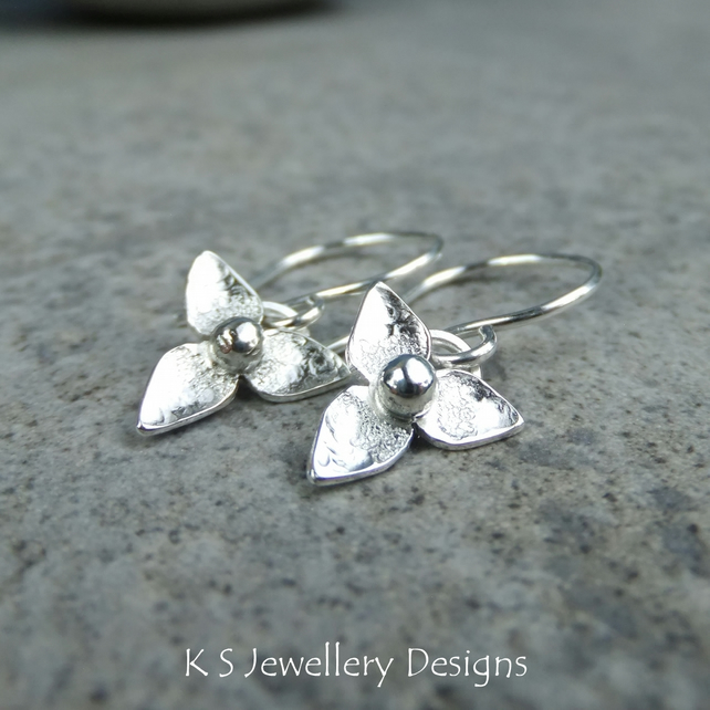 Three Petal Flowers V1 - Sterling Silver Flower Drop Earrings - Dappled Blossoms