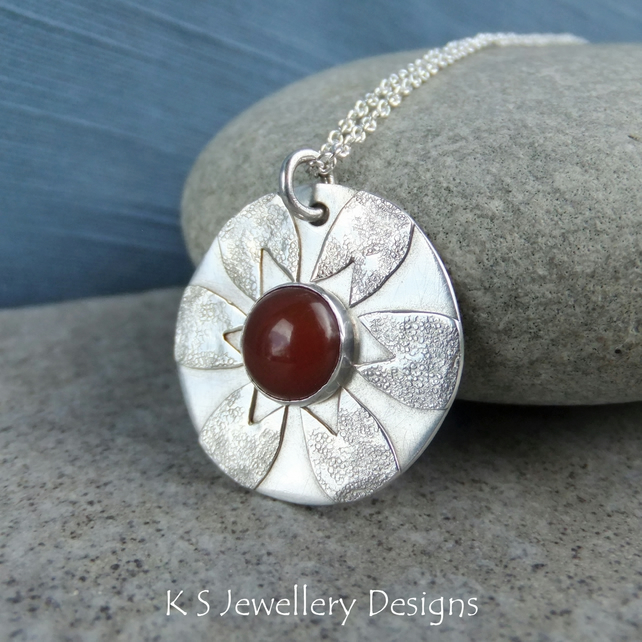Carnelian Flower Sterling Silver Disc Pendant - Gemstone Textured Petal Necklace
