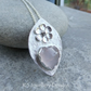 Rose Quartz Heart & Flower Adorned Sterling Silver Drop Pendant - Gemstone