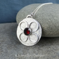 Garnet Four Petal Flower Sterling Silver Disc Pendant - Gemstone Textured Floral