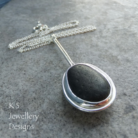 Black Seashore Pebble Sterling Silver Pendant - Handmade Metalwork Sea Jewellery