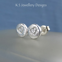 Sterling Silver Stud Earrings - HEART TEXTURED PEBBLES V3 - Organic Hearts Studs