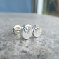 Sterling Silver Stud Earrings - HEART TEXTURED PEBBLES V2 - Organic Hearts Studs