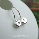 Flower Textured Pebbles Earrings V2 - Sterling Silver Little Hoops - Organic
