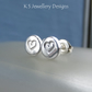 Sterling Silver Stud Earrings - HEART TEXTURED PEBBLES V5 - Organic Hearts Studs