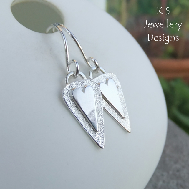 Heart Triangle Drop Sterling Silver Earrings V3 Shiny Love Hearts Textured Drops