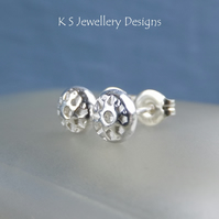 Sterling Silver Stud Earrings - FLOWER TEXTURED PEBBLES V8 - Organic Studs