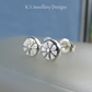 Sterling Silver Stud Earrings - FLOWER TEXTURED PEBBLES V9 - Organic Studs