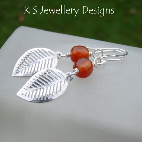 AUTUMN LEAVES - Carnelian and Sterling Silver Leaf Charm Earrings