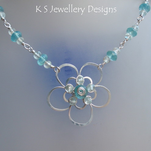 NEON FLOWER – Apatite and Aquamarine Sterling Silver Double Petal Wire Flower Necklace