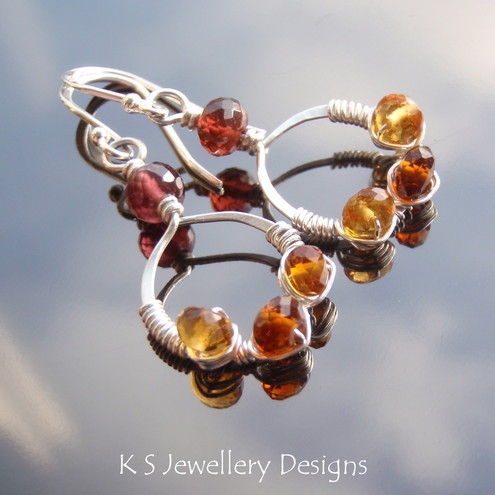 RUSSET ELEGANCE - Shades of Garnet Coiled Jewel Sterling Silver Hammered Circle Earrings