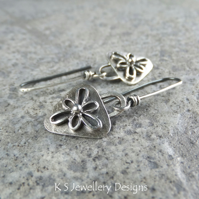 Sterling Silver Earrings - FLOWER TRIANGLES - Handmade Metalwork Oxidised