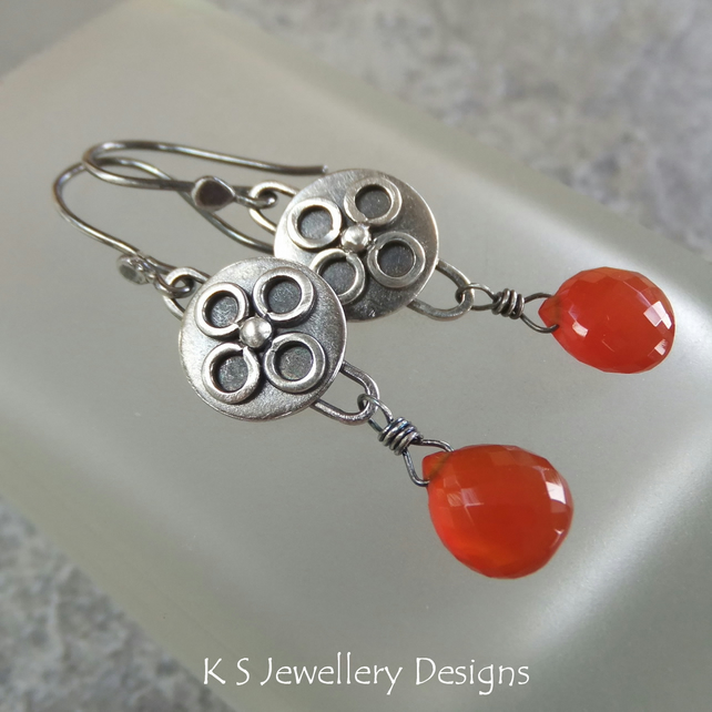 Carnelian Sterling Silver Earrings - Disc Drops - Handmade Metalwork Oxidised