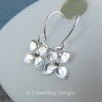 Four Petal Flowers - Sterling Silver Flower Drop Earrings - Dappled Blossoms