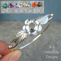 Gemstone (YOU CHOOSE) Five Petal Flower & Leaves Sterling Silver Bangle Bracelet