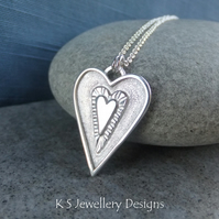 Layered Hearts V12 Sterling Silver Pendant - Hand Stamped Love Heart Metalwork