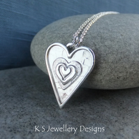 Layered Hearts V11 Sterling Silver Pendant - Hand Stamped Love Heart Metalwork