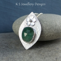 Natural Emerald Flower Adorned Sterling Silver Drop Pendant - Gemstone Necklace