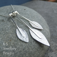 Textured Leaf Trio Sterling Silver Necklace - Hand Stamped Leaves - Metalwork