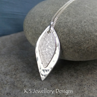 Double Leaf Sterling Silver Pendant - Layered Leaves - Dappled & Textured