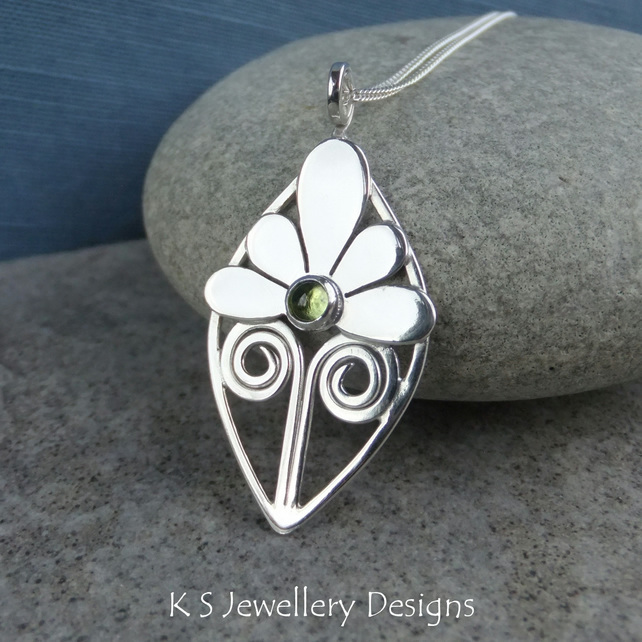 Peridot Flower and Swirls Circle Sterling Silver Pendant - Gemstone Necklace