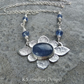 Kyanite Oval Flower Sterling Silver Necklace - Handmade Metalwork Gemstone