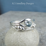 Aquamarine Freeform Sterling Silver Waves & Pebbles Ring - size N - size 6.75