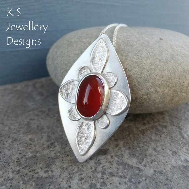 Carnelian Textured Oval Flower Sterling Silver Drop Pendant - Gemstone Necklace