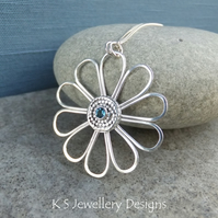 London Blue Topaz Daisy - Sterling Silver Gemstone Wire Flower Pendant