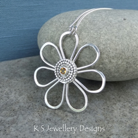 Citrine Daisy - Sterling Silver Gemstone Wire Flower Pendant - Golden Yellow