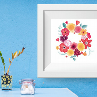 Bright floral wreath giclee print