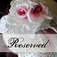 RESERVED - VEIL - TEA ROSE - Deep Rose Veil with Off White and Deep Rose Fascinator