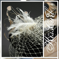VEIL - FASCINATING - Antique Cream Small Birdcage or Cage Veil w/ Feathers