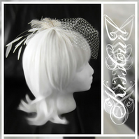 VEIL - FASCINATING - Ivory/Off White Small Birdcage or Cage Veil w/ Feathers