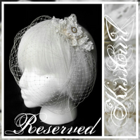 RESERVED -  Pale Ivory/ Off White and Cream Lace Hair Comb &  Birdcage Veil