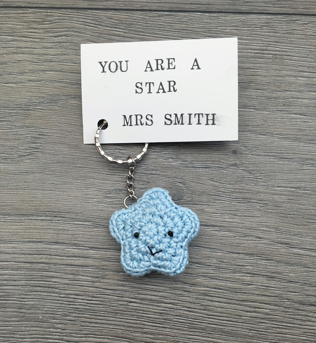 Cute handmade crochet you are a star keyring personalised teacher gift