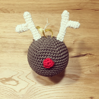 Cute crochet Rudolph Reindeer Christmas tree bauble decoration ornament