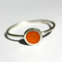 Silver and Orange Resin Stackable Ring