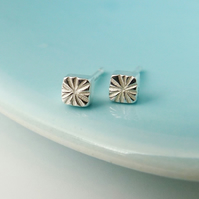 Tiny Seed Head studs, Square stud earrings handmade by Cathy McCarthy in the UK