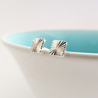 Seed Head 5mm Square Handmade Stud Earrings, Textured Sterling silver