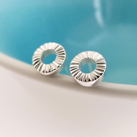 Seed Head Circle studs, Handmade Sterling silver earrings, Textured silver studs