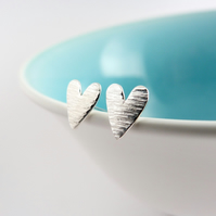 Ripple Heart stud earrings, handmade in Sterling silver.