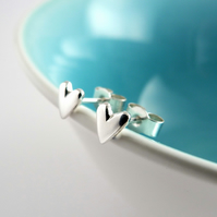 Tiny Heart studs with shiny finish, handmade in Sterling silver
