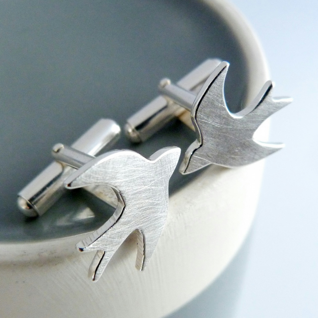 Swallow cufflinks, handmade in Sterling silver by Cathy McCarthy