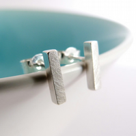 Rectangle Bar Studs matt finish, handmade in Sterling silver by Cathy McCarthy