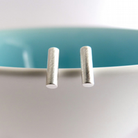 Round Bar, stud earrings - Handmade in Sterling silver - Free UK delivery