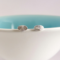 Tiny Oval Seed Head studs, handmade in Sterling silver
