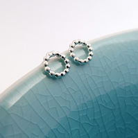 Circle Beaded stud Earrings, handmade in Sterling silver with A shiny finish