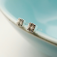 Tiny Square Seed Head stud earrings, Handmade in Sterling silver, Textured studs
